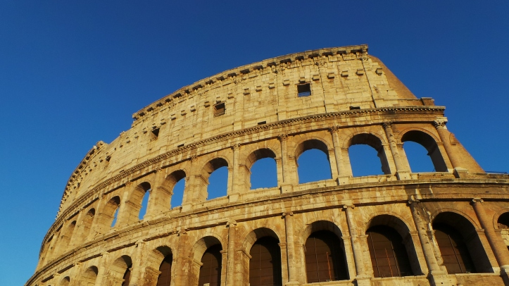 An exterior photo of the Colosseum.