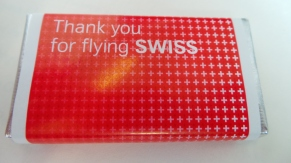 Chocolate given out by Swiss Airlines after the in-flight meal.