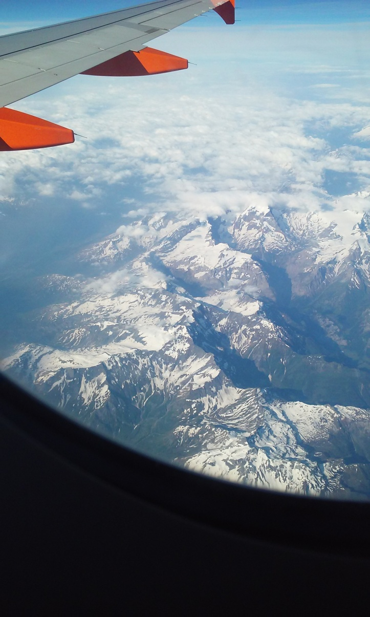 Flying over the Swiss Alps on Swiss Air