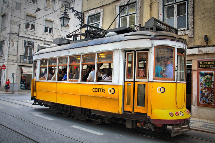 Tram 28: Yellow trams signify that the tram is open for public boarding/not reserved. Source: https://commons.wikimedia.org/wiki/File:Tram_28;_Lisbon_(5282021178).jpg