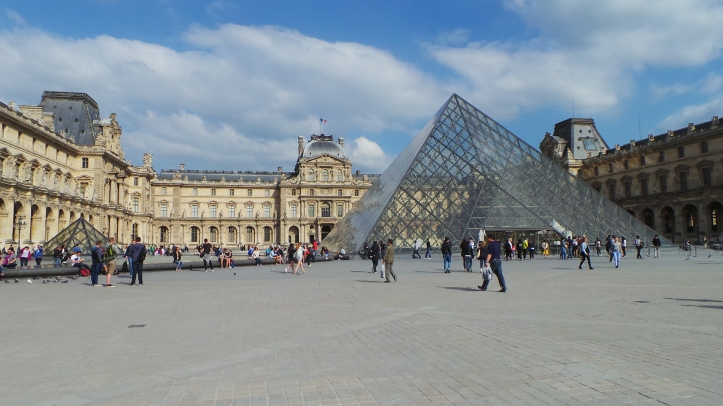 Outside the Louvre in Paris.