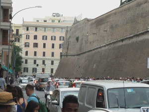 A segment of the lengthy line to enter the Vatican (and it wraps around the block)